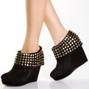 Matiko Halle black suede gold studded cuff booties